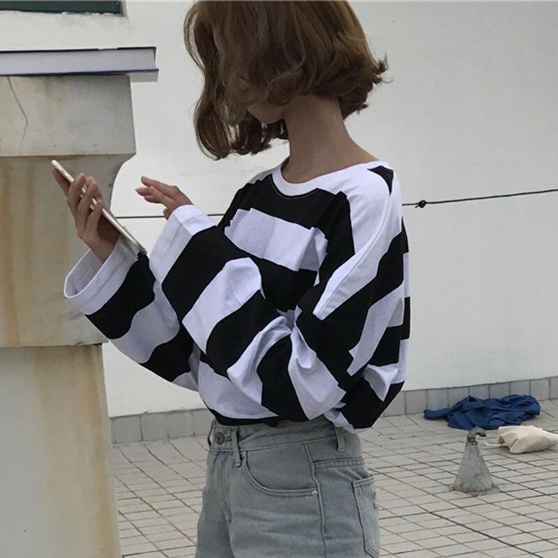 2019 Fashion Striped Long Sleeve T Shirt Women Korean Casual Loose T Shirt Femlae Tops Spring O Neck Women Tshirt in T Shirts from Women 39 s Clothing