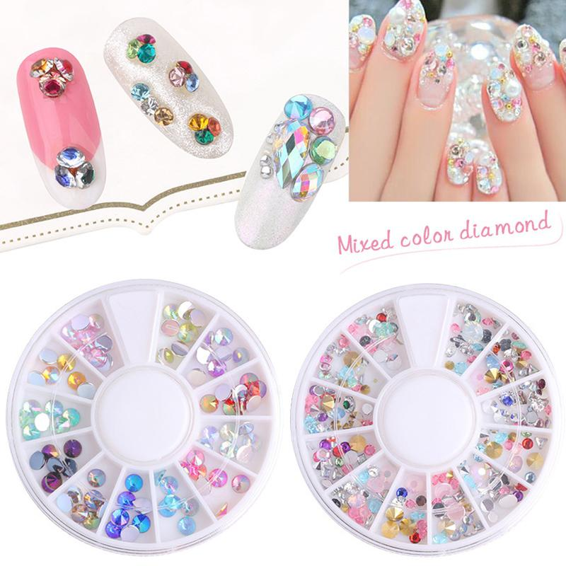 BellyLady 1 Box Colorful Nail Art Rhinestones Glitter Tips Decorations for DIY