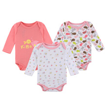 3 Pack Baby Girl Bodysuits with Long Sleeves 100% Cotton Floral Snap Buttons 0-12 Months