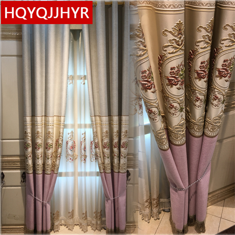 3D European style luxury jacquard stitching linen blackout curtains for Living Room modern high quality curtains for Bedroom in Curtains from Home Garden