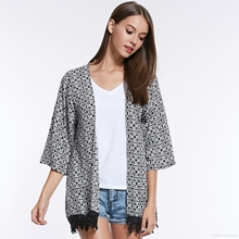 Women Short Overcoat With Tassel Loose Spring Summer Long Sleeve Shirts Japanese Kimono Cardigan Coat Sunscreen Beach C