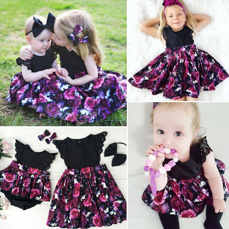Summer Newborn Baby Girl Sister Matching Sleeveless Floral Clothes Jumpsuit Romper Dress Outfit Set Bodysuits Bodysuits & One-pieces
