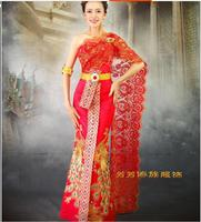 New Arrival!Red Wedding dresses thailand Embroidery Peacock clothes thailand Receptionist uniforms