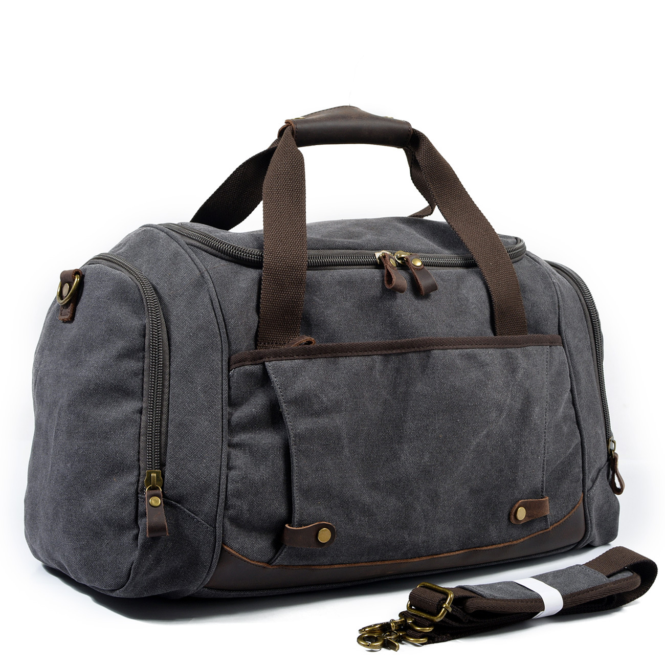 Waterproof Duffel Bag Men Canvas Carry Weekender Bag Vintage Military Shoulder Handbag Leather Travel Tote Large Overnight Bag