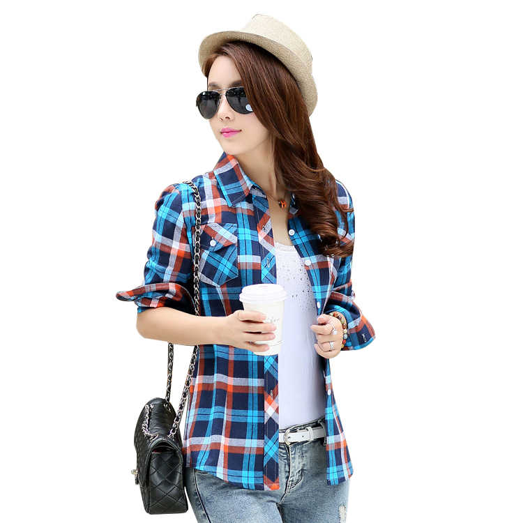 db10ff8890653e Brand New 2019 Fashion Women Blouses Long Sleeve Turn-down Collar Plaid  Shirts Women Cotton