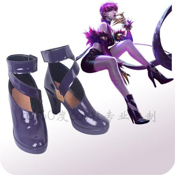 Le jeu chaud LOL Cosplay chaussures KDA Evelyn violet talons hauts taille 35-53 livraison gratuite A
