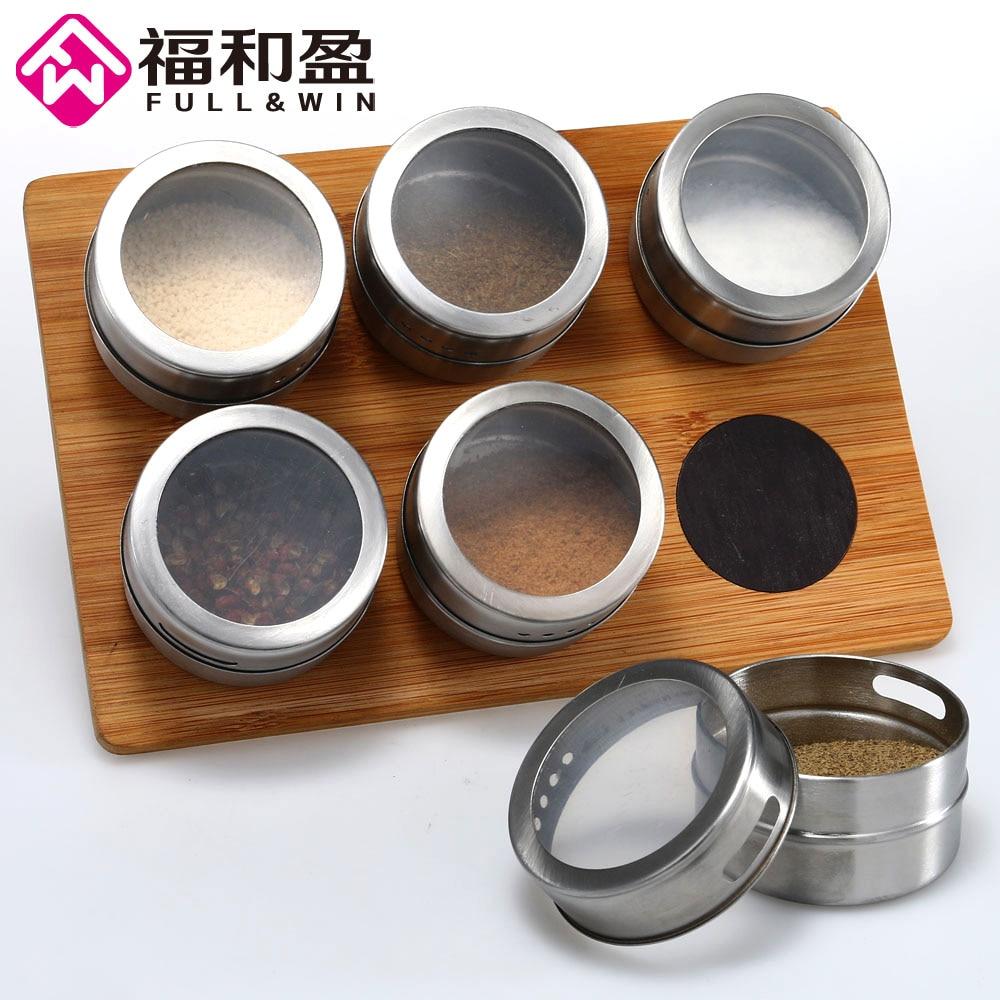 6 Pieces Magnetic Stainless Steel Cruet Condiment Spice Jars Set Salt and Pepper Shakers Seasoning Sprays
