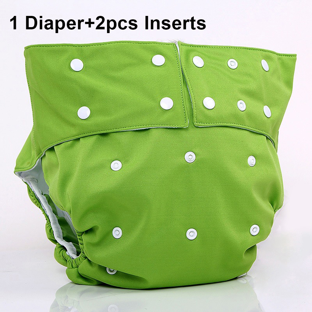 Solid Color Waterproof Soft Adult Cloth Diaper for disabled old Women and Men Reusable Medical Adult Diaper Nappy with Inserts