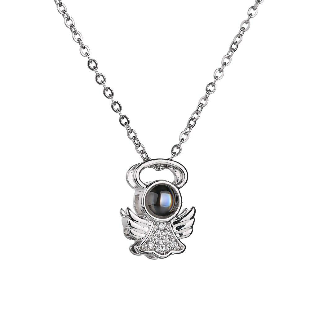 2018 neue heiße silber farbe 100 sprachen ICH liebe sie engel anhänger halskette für frauen mädchen charme halsband halskette drop verschiffen