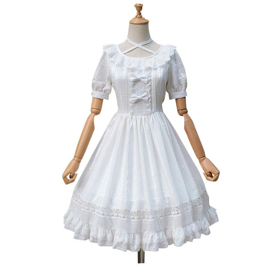 Dulce manga corta Lolita vestido Jacquard Casual blanco/Negro Plaid vestido para verano-in Vestidos from Ropa de mujer    1