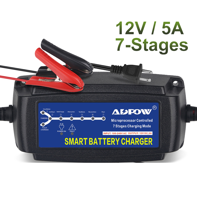 <font><b>12v</b></font> 5A 7 Stages Car <font><b>Battery</b></font> <font><b>Charger</b></font> Smart <font><b>15Ah</b></font> To 120Ah For Lead Acid AGM Gel Wet <font><b>Battery</b></font> Charging Maintainer Automatic 100-240V image