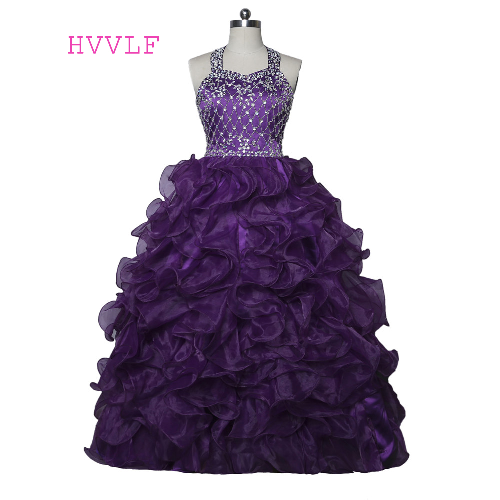 Purple 2019 Girls Pageant Dresses For Weddings Ball Gown Halter Organza Ruffles Beaded Crystals Flower Girl Dresses