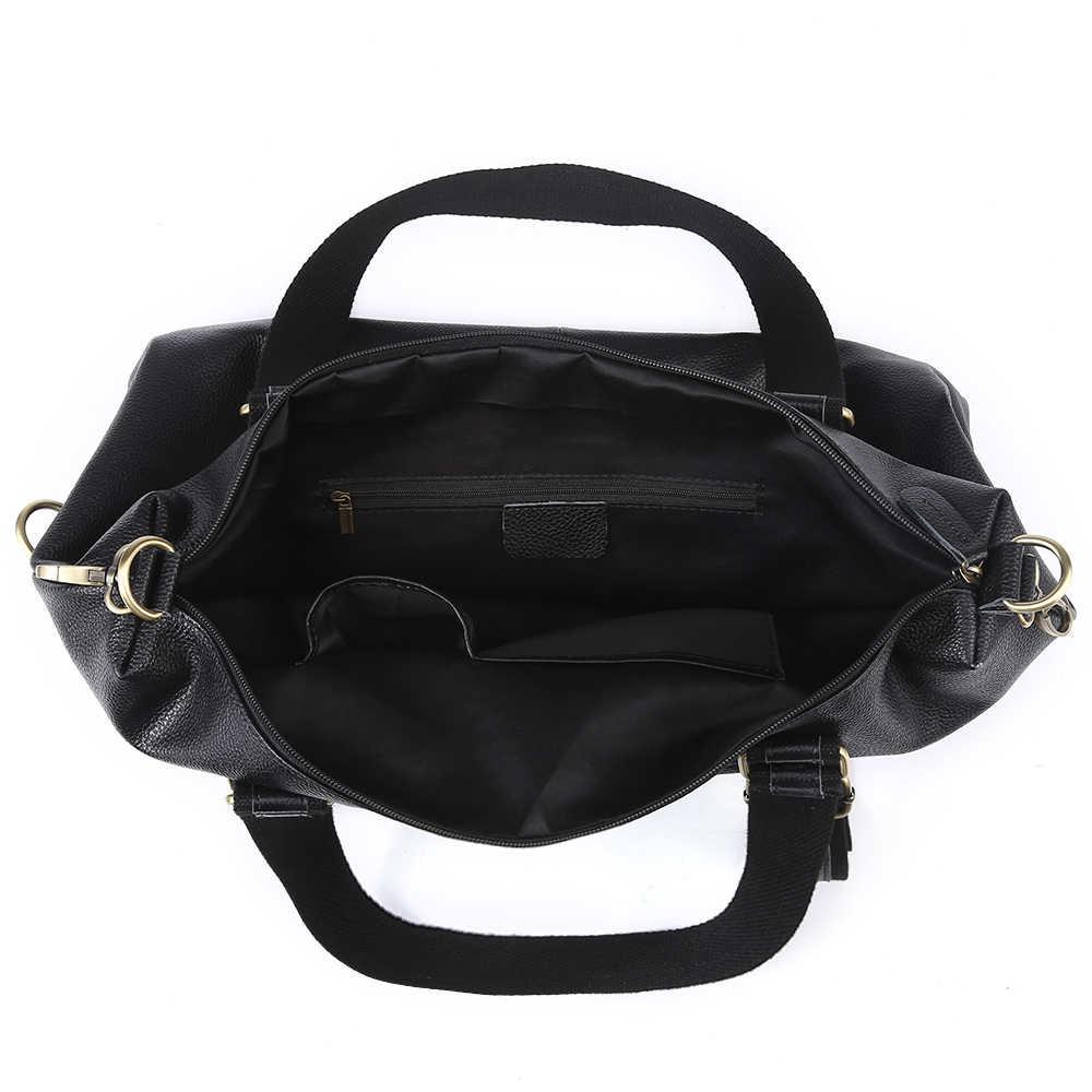 Nesitu большой емкости большой черный натуральная кожа женская сумка на плечо 15,6 ''ноутбук мужские сумки мессенджер M321