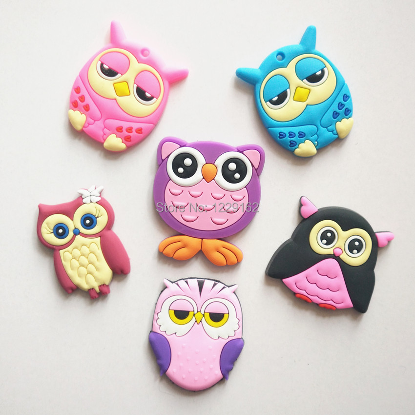 Transport gratuit (6pcs / lot) Cute Cartoon Owl frigider magneți autocolant whiteboard Silicon Gel Frigider Magnet Copii cadou / decor acasă