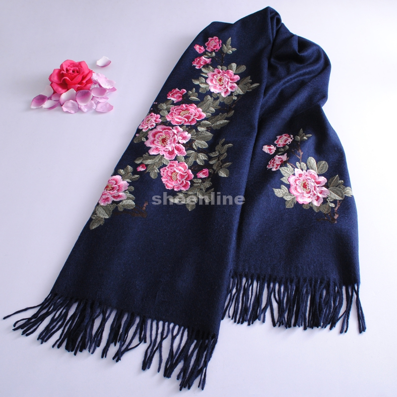 Multi Design Top Quality Ethnic Complicated Embroidery Wool Shawl Vintage Pashmina Long Scarf Light Warm Winter