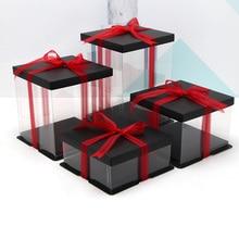 2018 игрушка кукла Подарочная коробка простой Lucency PET безопасности Материал плюшевая игрушка подарочные коробки 4-16 дюйм(ов) большой размер день рождения торт Gaine
