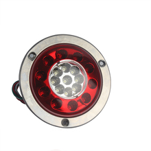 1 Pair 19 LED Round Tail Lights Stop Brake Lamp Taillight for 10-30V Bus Truck Trailer Caravan Red&White