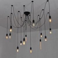 Modern DIY 14 Lights Big Spider Industrial Black Vintage Pendant Lamp Loft Led E27 AC 110V