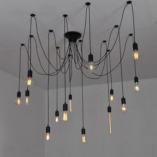 modern diy big spider industrial black vintage pendant lamps loft led e27 ac 110v 220v pendant - Big Living Room Lamps