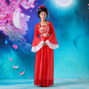 Chinese Folk Dance Red New Chinese Ancient Traditional Infanta Fairy Dress Clothing Dramaturgic Show Costume Robe Dress Free Shipping Good Heat Preservation Stage & Dance Wear