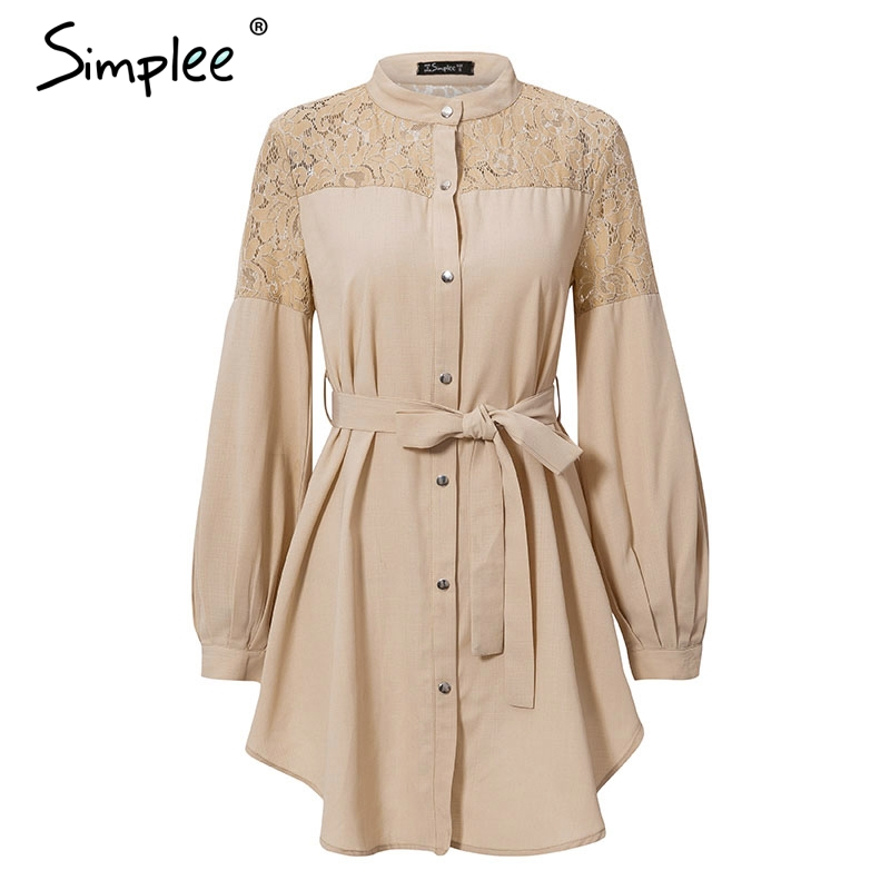 Simplee Elegant lace mesh embroidery women A-line dress Long sleeve button office ladies dresses Solid sashes summer shirt dress 9