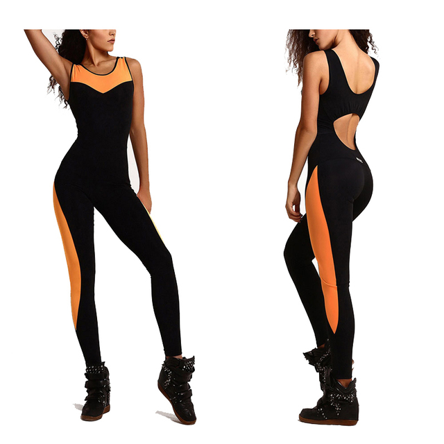 b7fc0604452c Sexy Sport Jumpsuit Women Tracksuit Bodysuit Fitness Leggings One Piece Yoga  Set Mesh Elastic Overalls Workout Long Pants