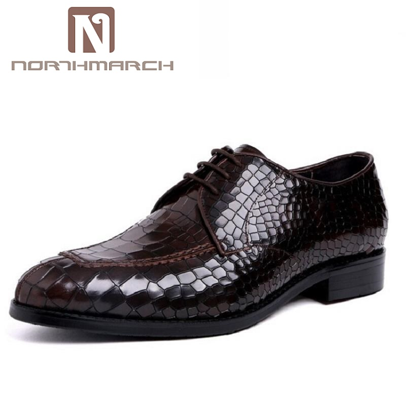 купить NORTHMARCH Mens Pure Leather Business Men Wedding Shoes Crocodile Pattern Party Dress Shoes Black Sapato Social Masculino недорого