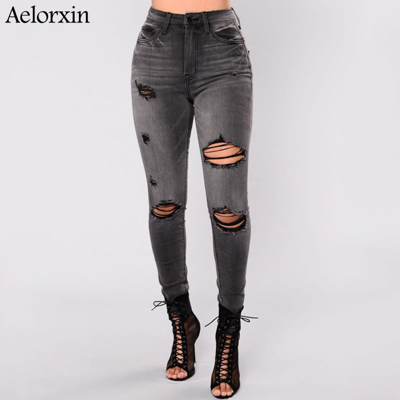 Aelorxin New High Waist Skinny Jeans Plus Size Jeans Woman Hole Black Pencil Pants With Pocket S M L XL 2XL 3XL 4XL Jean Femme