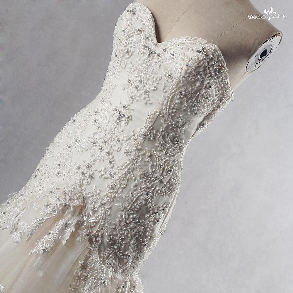 RSW835 robe de mariée en dentelle perlée Champagne trompette