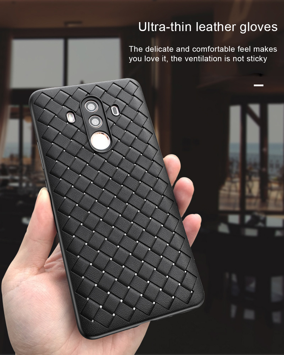 !ACCEZZ Luxury Soft TPU Ultra-thin Protective Back Cover Shell For Huawei Mate1010pro Phone Cases BV Weave Capa Fundas Coque (3)
