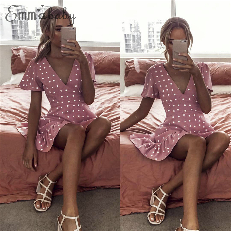 Новые модные женские туфли летние Boho Короткие мини платье женское вечернее платье с принтом в горошек повседневное пляжное Сарафан