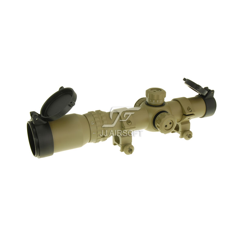 JJ Airsoft 1-4x24 E Red / Green Reticle Long Eye Relief Illumination Rifle Scope (Tan) Glass Partition jj airsoft 1 4x24e red green reticle long eye relief illumination rifle scope tan glass partition