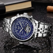 купить OUYAWEI Automatic Mechanical Wristwatches Men Business Waterproof Stainless Steel Relogio Masculino Top Brand Luxury дешево