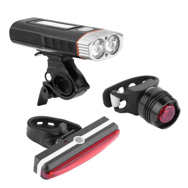 Waterproof USB Charging Magnetic Bicycle T6 LED+COB Headlight+Taillight Set 500-1000 Lumens 18650 Battery Rechargeable цена