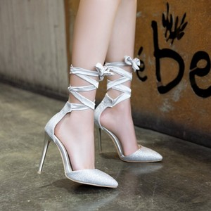Image 4 - Big Size 11 12 13 14 15 16 17 ladies high heels women shoes woman pumps Fine heeled pointed bow strap on single shoe
