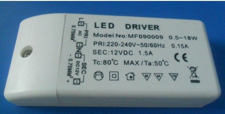 500 pièces wholeales haute qualité CE certificat AC220-240V DC 12 V 18 W LED pilote adaptateur transformateur commutateur pour bande de LED