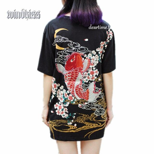 Панк-фанк-рок футболки harajuku 2017 Япония ЙОКОСУКА вышивка дракон кои и бейсбол равномерное мужской моды старинные рубашки