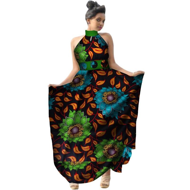 Été 2018 afrique imprimer cire femmes robe licou longue robe grande taille vêtements africains Bazin Riche robe pour dame WY2953