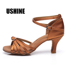 218 Black Brown Stain Zapatos Salsa Mujer Zapatos De Baile Latino Mujer Tango SalsaShoes Latin Dance Shoes For Women