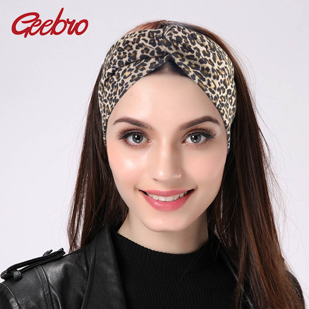 Geebro Women's Leopard Turban Headbands Twist Elastic Stretch Hairbands Fashion Headband Yoga Headwrap Spa Head Band For Ladies