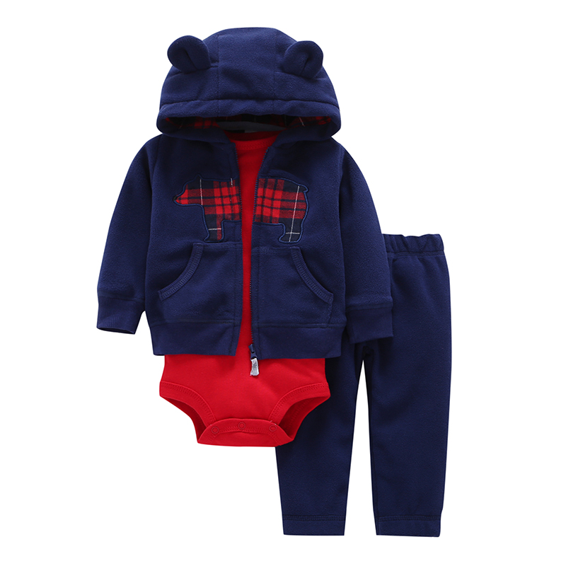 New Brand 2018 Baby Boy Girls 3 Pieces Sets Fashion Style Regualr Full Sleeve Heart Hooded Coat+O-Neck One Piece Romper+ Pants
