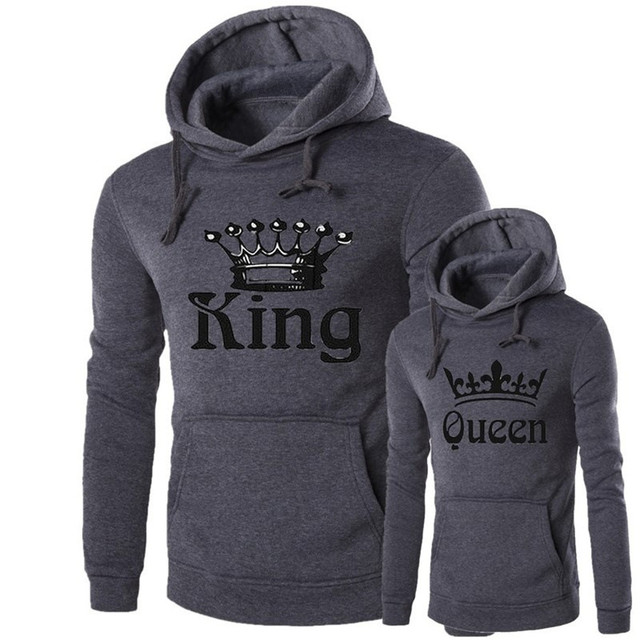 ae2d05475e Fashion Women Men Hoodies King Queen Sweatshirt Lovers Couples Printed Hoodie  Hooded Sweatshirt Casual Pullovers Tracksuits
