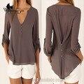 WomensDate 2016 Mulheres Blusas Camisa Com Decote Em V de Venda de Fast-Sexy Longo-Luva Irregular Chiffon Camisa Cintura Fina