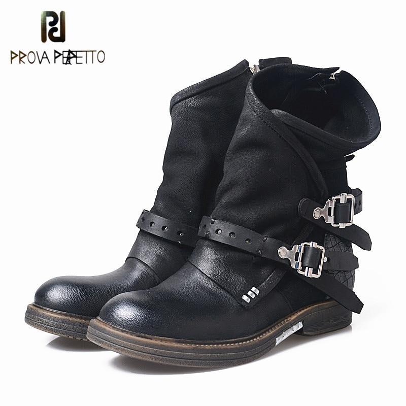 Prova Perfetto; оригинальные женские ботинки из кусочков натуральной кожи; ботинки до середины икры; женские ботинки на низком каблуке; botas mujer invierno