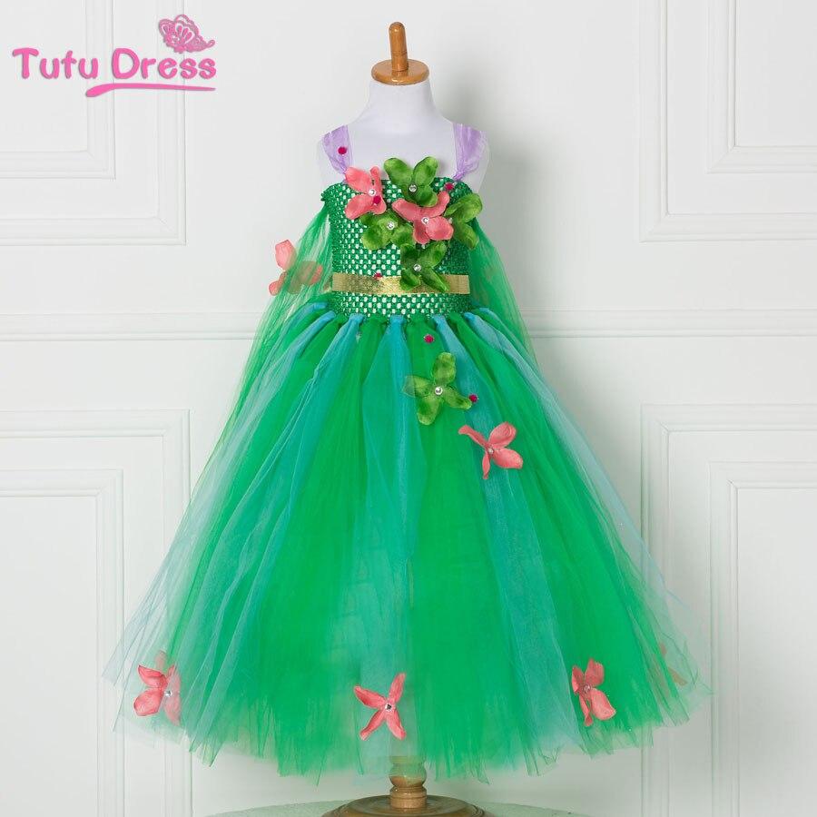 2017 Newest Girl Green Tutu Dress Princess Flower Dresses Christmas Children Costume