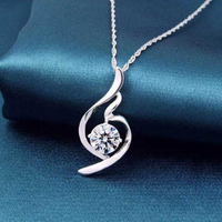 Fashion Heart Arrows Cutting AAA Premium Zircon Charms Pendant 925 Sterling Silver Necklace Clavicle Chain