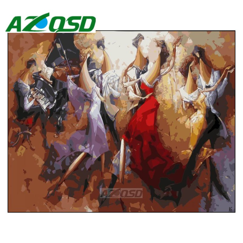 AZQSD Painting By Numbers 40x50cm Frameless Abstract Party Dancer Oil Painting Picture By Numbers On Canvas Home Decor Szyh409