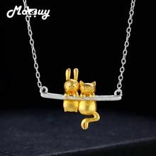 MoBuy Trefilado Oro Amarillo Conejo 100% 925 Collar de Plata Esterlina y Colgante de Joyería Fina Para Las Mujeres Engagement Gift MBNY009