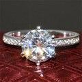 2 Карат кт F Цвет Свадьба Обручальное Lab Grown Муассанит Алмаз кольцо С Бриллиантом Акценты Solid 14 К 585 Белого Золота Для Женщин