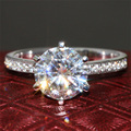 2 Carat ct F Color Engagement Wedding Lab Grown Moissanite Diamond Ring With Diamond Accents Solid 14K 585 White Gold For Women